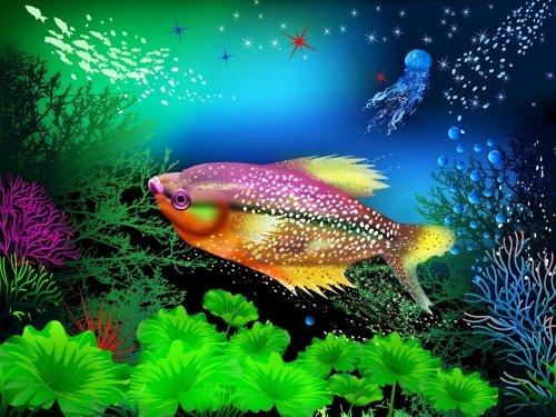 """Тематический день  «Всемирный день океана» . ХЭР рисование """" Рыбка плавает в океане"""""""